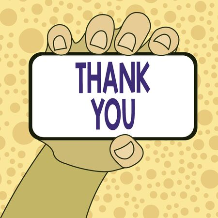 Writing note showing Thank You. Business concept for a polite expression used when acknowledging a gift or service Closeup of Smartphone in Hand with Blank Screen and Text Space