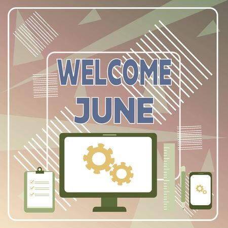 Word writing text Welcome June. Business photo showcasing Calendar Sixth Month Second Quarter Thirty days Greetings Business Concept PC Monitor Mobile Device Clipboard Ruler Ballpoint Pen Фото со стока