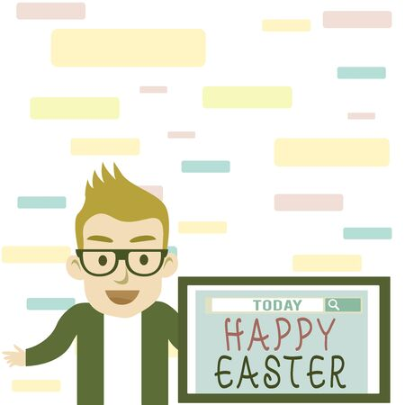 Writing note showing Happy Easter. Business concept for Christian feast commemorating the resurrection of Jesus Male Speaker Monitor with Search Tool on Screen Presentation or Report Reklamní fotografie