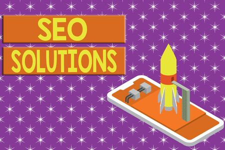 Writing note showing Seo Solutions. Business concept for Search Engine Result Page Increase Visitors by Rankings Ready to launch rocket lying smartphone. Startup negotiations to begin