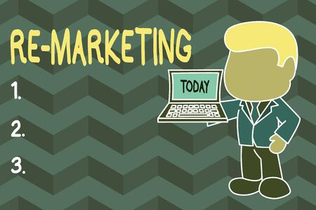 Word writing text Re Marketing. Business photo showcasing Strategy to reach potential customers in your website Standing professional businessman holding open laptop right hand side Imagens