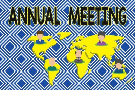 Text sign showing Annual Meeting. Business photo showcasing yearly meeting of the general membership of an organization Connection multiethnic persons all over world. Global business earth map