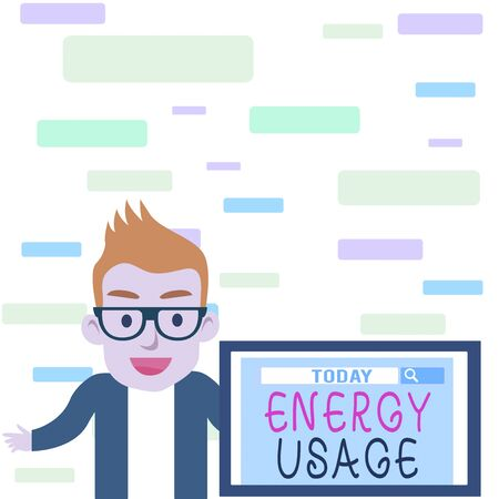 Writing note showing Energy Usage. Business concept for Amount of energy consumed or used in a process or system Male Speaker Monitor with Search Tool on Screen Presentation or Report