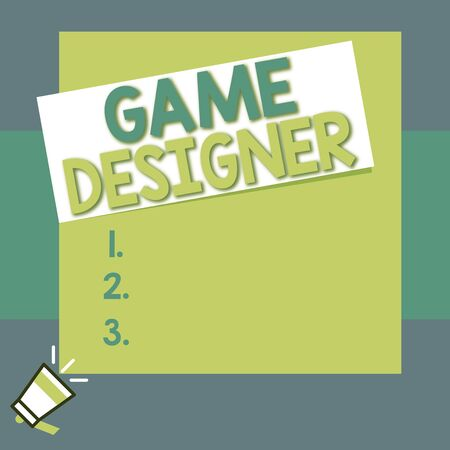 Conceptual hand writing showing Game Designer. Concept meaning Campaigner Pixel Scripting Programmers Consoles 3D Graphics Big square rectangle stick above small megaphone left down corner