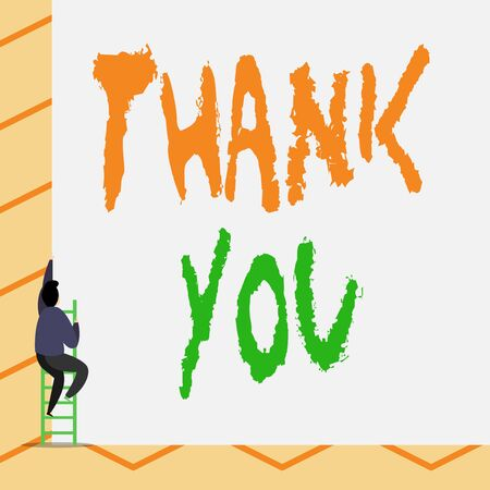 Conceptual hand writing showing Thank You. Concept meaning a polite expression used when acknowledging a gift or service One Male climb up the tall high wall use short ladder stairway Stok Fotoğraf