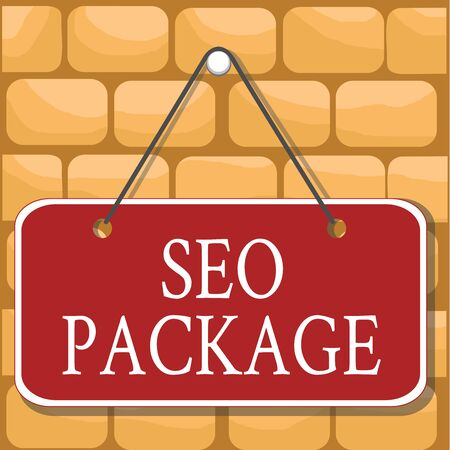 Handwriting text Seo Package. Conceptual photo practice of search engine optimization increase amount visitors Colored memo reminder empty board blank space attach background rectangle Stock Photo