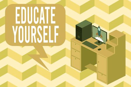 Writing note showing Educate Yourself. Business concept for prepare oneself or someone in a particular area or subject Desktop station drawers personal computer launching rocket