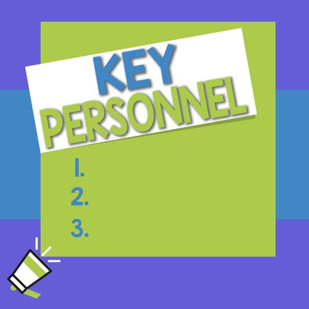 Conceptual hand writing showing Key Personnel. Concept meaning Program Directors Principal Investigator Project Executives Big square rectangle stick above small megaphone left down corner Imagens