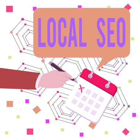 Conceptual hand writing showing Local Seo. Concept meaning helps businesses promote products and services to local customers Formal Suit Crosses Off One Day Calendar Red Ink Ballpoint Pen