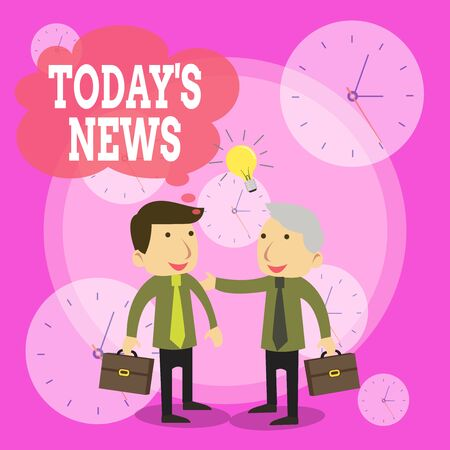 Conceptual hand writing showing Today S News. Concept meaning Latest Breaking Headlines Current Updates Trending Businessmen Colleagues with Brief Case Sharing Idea Solution