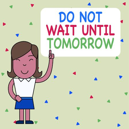 Word writing text Do Not Wait Until Tomorrow. Business photo showcasing needed to do it right away Urgent Better do now Woman Standing with Raised Left Index Finger Pointing at Blank Text Box Foto de archivo