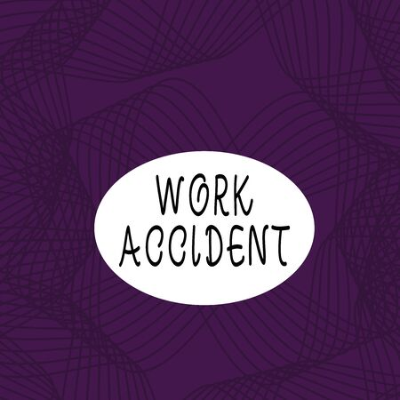 Text sign showing Work Accident. Business photo showcasing Mistake Injury happened in the job place Getting hurt Set of Lines in Curvy Flowing Motion in Monochrome Violet Abstract Pattern