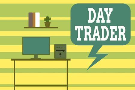 Writing note showing Day Trader. Business concept for A demonstrating that buy and sell financial instrument within the day Desktop computer with wooden table shelf books flower pot Stok Fotoğraf