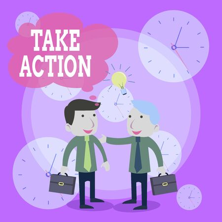 Conceptual hand writing showing Take Action. Concept meaning Supporting what you say not just words but through evidence Businessmen Colleagues with Brief Case Sharing Idea Solution