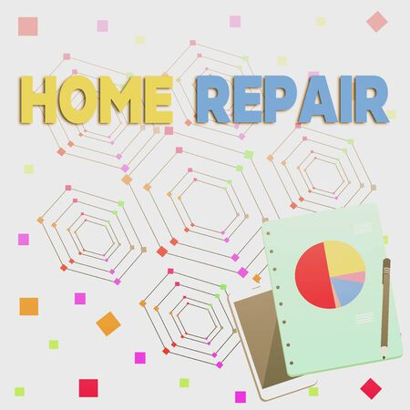 Word writing text Home Repair. Business photo showcasing maintenance or improving your own house by yourself using tools Layout Smartphone Off Ballpoint Pen RingBound Notepad Business Pie Chart 版權商用圖片