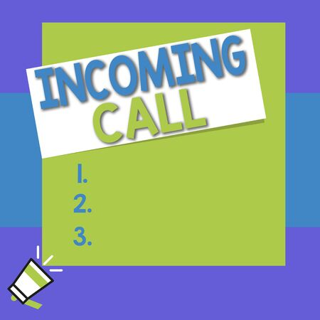 Conceptual hand writing showing Incoming Call. Concept meaning Inbound Received Caller ID Telephone Voicemail Vidcall Big square rectangle stick above small megaphone left down corner