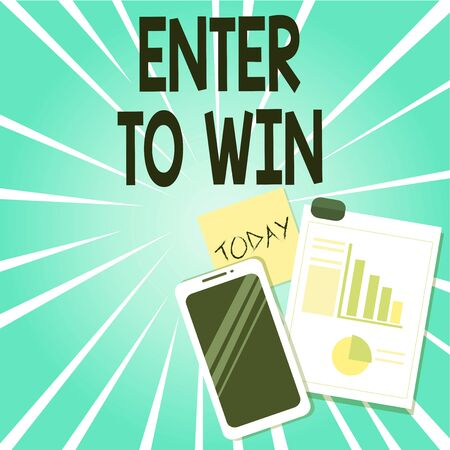 Word writing text Enter To Win. Business photo showcasing exchanging something value for prize or chance of winning Layout Smartphone Off Sticky Notes Clipboard with Pie Chart and Bar Graph Фото со стока
