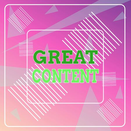 Word writing text Great Content. Business photo showcasing Satisfaction Motivational Readable Applicable Originality Geometric Background Pastel Pink 12 Dash Squares SemiTransparent Triangles