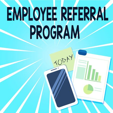 Word writing text Employee Referral Program. Business photo showcasing employees are rewarded for introducing recruits Layout Smartphone Off Sticky Notes Clipboard with Pie Chart and Bar Graph Stok Fotoğraf