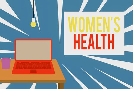 Text sign showing Women S Health. Business photo text Women s is physical health consequence avoiding illness Front view open laptop lying on wooden desktop light bulb falling glass Stockfoto