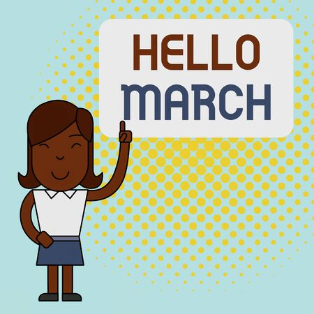 Conceptual hand writing showing Hello March. Concept meaning musical composition usually in duple or quadruple with beat Woman Standing with Raised Left Index Finger Pointing at Box