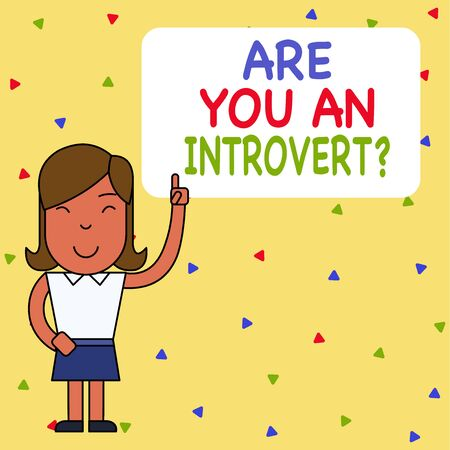 Word writing text Are You An Introvertquestion. Business photo showcasing demonstrating who tends to turn inward mentally Woman Standing with Raised Left Index Finger Pointing at Blank Text Box