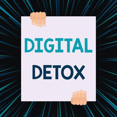 Handwriting text writing Digital Detox. Conceptual photo Free of Electronic Devices Disconnect to Reconnect Unplugged Two hands holding big blank rectangle up down Geometrical background design