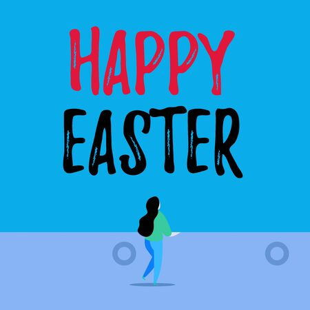 Handwriting text writing Happy Easter. Conceptual photo Christian feast commemorating the resurrection of Jesus Back view young long hair woman holding big blank square announcement