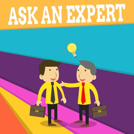Word writing text Ask An Expert. Business photo showcasing consult someone who has skill about something or knowledgeable Two White Businessmen Colleagues with Brief Cases Sharing Idea Solution