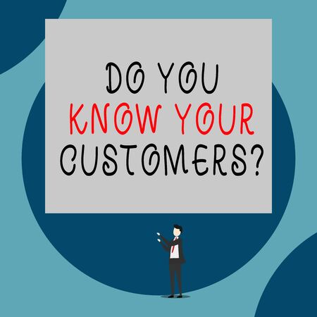 Handwriting text Do You Know Your Customers question. Conceptual photo asking to identify a customer s is nature Isolated view young man standing pointing upwards two hands big rectangle Stock fotó
