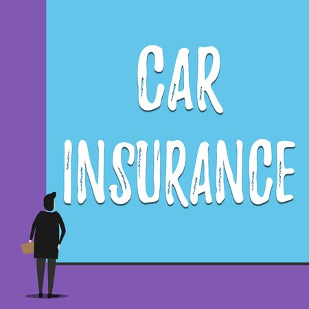 Conceptual hand writing showing Car Insurance. Concept meaning Accidents coverage Comprehensive Policy Motor Vehicle Guaranty Back view young woman watching blank big rectangle