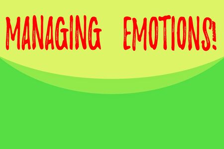 Writing note showing Managing Emotions. Business concept for ability be open to feelings and modulate them in oneself Abstract waving background semicircle pattern design. Simple Wallpaper