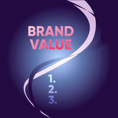 Handwriting text writing Brand Value. Conceptual photo company generates from product with recognizable for its names Two Intermittent Curves Waves Dividing Sun Beamed Background in Halves Banco de Imagens