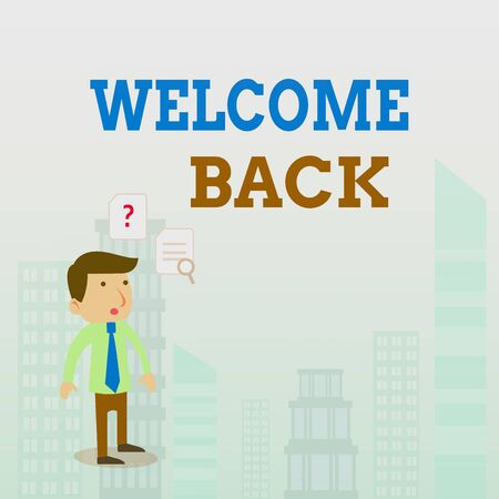 Writing note showing Welcome Back. Business concept for Warm Greetings Arrived Repeat Gladly Accepted Pleased Young Male Businessman Worker Searching Problem Solution 版權商用圖片