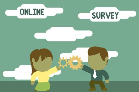 Handwriting text Online Survey. Conceptual photo Reappraisal Feedback Poll Satisfaction Rate Testimony Standing young couple sharing gear. Man tie woman skirt commerce relation