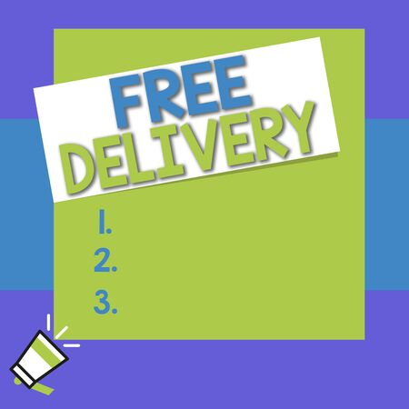 Conceptual hand writing showing Free Delivery. Concept meaning Shipping Package Cargo Courier Distribution Center Fragile Big square rectangle stick above small megaphone left down corner