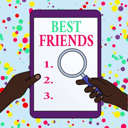 Writing note showing Best Friends. Business concept for A demonstrating you value above other demonstratings Forever buddies Hands Holding Magnifying Glass Against Switched Off Touch Screen Tablet Imagens