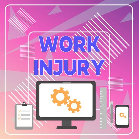 Word writing text Work Injury. Business photo showcasing Accident in job Danger Unsecure conditions Hurt Trauma Business Concept PC Monitor Mobile Device Clipboard Ruler Ballpoint Pen