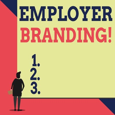Handwriting text Employer Branding. Conceptual photo promoting company employer choice to desired target group Back view young woman watching blank big rectangle. Geometrical background Stock Photo