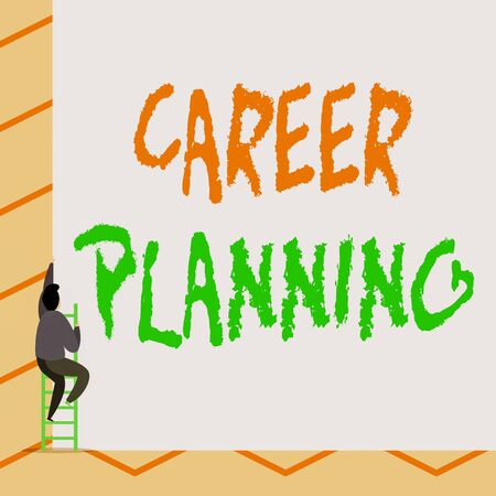 Conceptual hand writing showing Career Planning. Concept meaning Strategically plan your career goals and work success One Male climb up the tall high wall use short ladder stairway