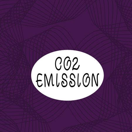 Text sign showing Co2 Emission. Business photo showcasing Releasing of greenhouse gases into the atmosphere over time Set of Lines in Curvy Flowing Motion in Monochrome Violet Abstract Pattern