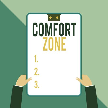 Word writing text Comfort Zone. Business photo showcasing A situation where one feels safe or at ease have Control Two executive male hands holding electronic device geometrical background