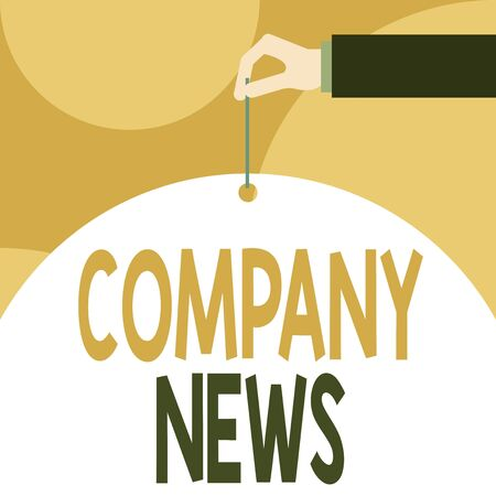 Text sign showing Company News. Business photo showcasing Latest Information and happening on a business Corporate Report Male hand arm needle punching big half blank balloon geometrical background Banque d'images