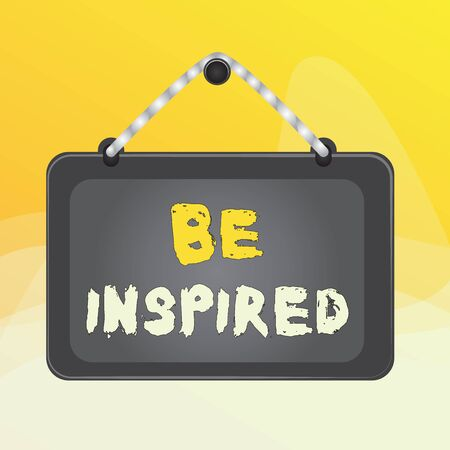 Writing note showing Be Inspired. Business concept for extraordinary quality as arising from some creative impulse Board fixed nail frame colored background rectangle panel
