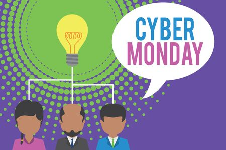 Word writing text Cyber Monday. Business photo showcasing Marketing term for Monday after thanksgiving holiday in the US Group three executive persons sharing idea icon. Startup team meeting