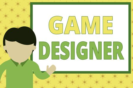 Handwriting text writing Game Designer. Conceptual photo Campaigner Pixel Scripting Programmers Consoles 3D Graphics Young man standing in front whiteboard pointing to project. photo Art Stock Photo