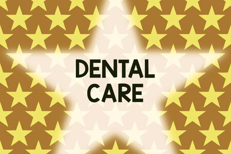 Handwriting text writing Dental Care. Conceptual photo maintenance of healthy teeth or to keep it clean for future Geometric seamless pattern. Monochrome randomly abstract texture stars Stockfoto