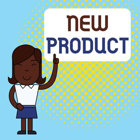 Conceptual hand writing showing New Product. Concept meaning goods and services that differ in their characteristics Woman Standing with Raised Left Index Finger Pointing at Box