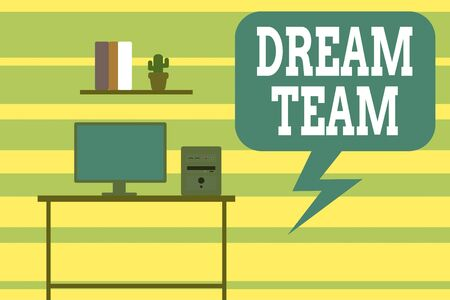 Writing note showing Dream Team. Business concept for Prefered unit or group that make the best out of a demonstrating Desktop computer with wooden table shelf books flower pot Stock Photo