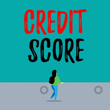 Handwriting text writing Credit Score. Conceptual photo Represent the creditworthiness of an individual Lenders rating Back view young long hair woman holding big blank square announcement
